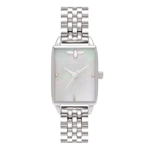 Montre Olivia Burton Bee Hive Grey Mother of Pearl Bracelet, Silver OB16BH03