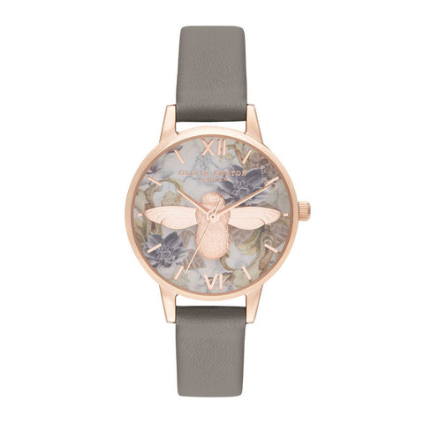 Montre Olivia Burton Midi 3D Bee Vegan London Grey & Rose Gold OB16CS19
