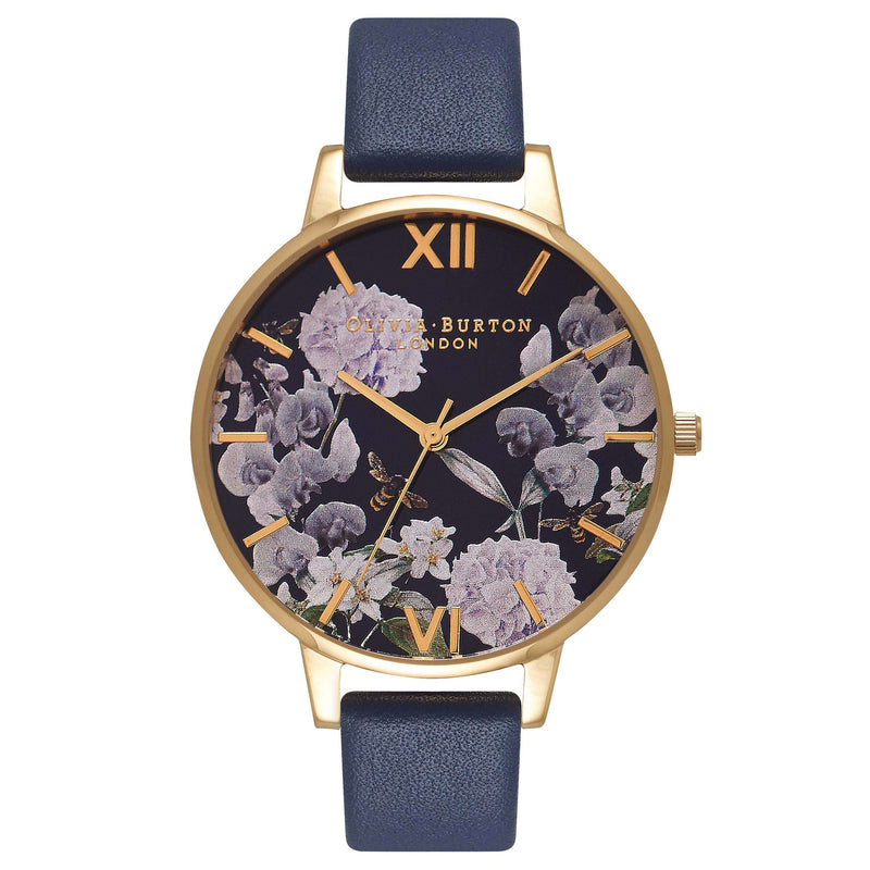 Montre Olivia Burton Big Dial Navy meets Dusty Pink,Midnight Dial Floral & Gold - PRECIOVS