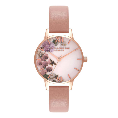 Montre Olivia Burton Midi Dial Navy meets Dusty Pink,Dusty Pink & Rose Gold Flora
