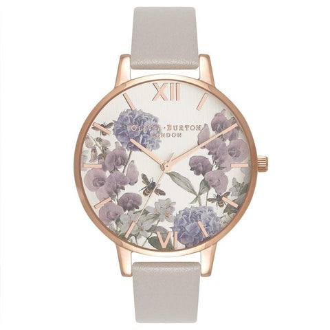 Montre Olivia Burton Parlour Bee Blooms Gris Or Rose OB16PL30