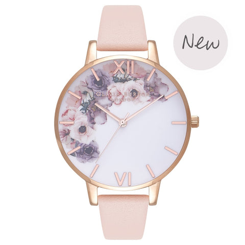 Montre Olivia Burton WATERCOLOUR FLORALS NUDE PEACH & ROSE GOLD OB16PP30 - PRECIOVS