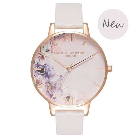 Montre Olivia Burton WATERCOLOUR FLORALS BLUSH & ROSE GOLD OB16PP31 - PRECIOVS