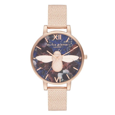 Montre Olivia Burton Big Dial 3D Bee Lapis Lazuli & Rose Gold OB16SP11