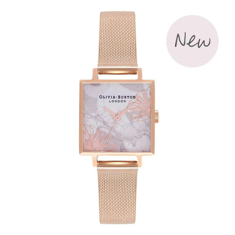 Montre Olivia Burton Abstract Florals Rose Gold Mesh OB16VM18