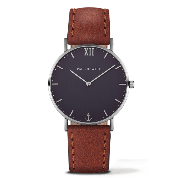 Montre Paul Hewitt Sailor Line Blue Lagoon Acier Inoxydable Bracelet Cuir Marron Cadran 39mm PH-SA-S-ST-B-1M - PRECIOVS