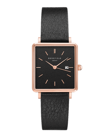 Montre Rosefield THE BOXY Noir Or Rose QBBR-Q10