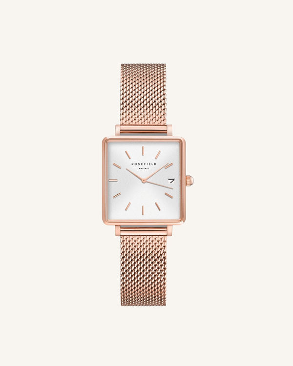 Montre Rosefield THE BOXY XS Blanc Sunray Mailles Or Rose Q040 - PRECIOVS