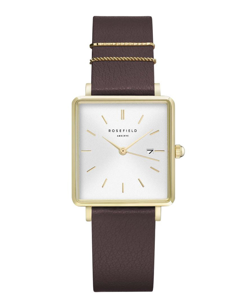 Montre Rosefield THE BOXY White Aubergine Gold Q030 - PRECIOVS