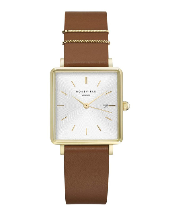 Montre Rosefield THE BOXY White Cognac Gold Q029 - PRECIOVS