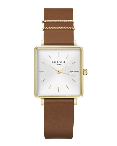 Montre Rosefield THE BOXY White Cognac Gold Q029