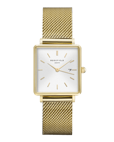 Montre Rosefield THE BOXY Blanc Sunray Or Jaune QWSG-Q03