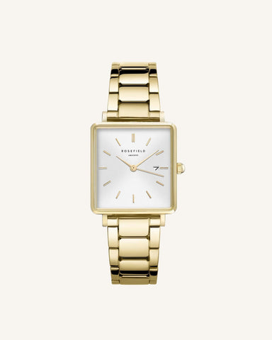 Montre Rosefield THE BOXY Blanc Sunray Acier Or Jaune Q041