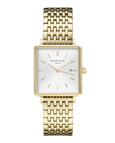 Montre Rosefield THE BOXY Blanc Sunray Or Jaune QWSG-Q09