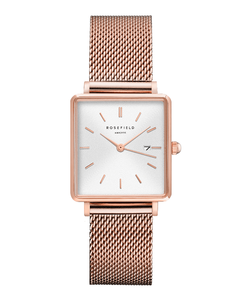 Montre Rosefield THE BOXY Blanc Sunray Or Rose QWSR-Q01