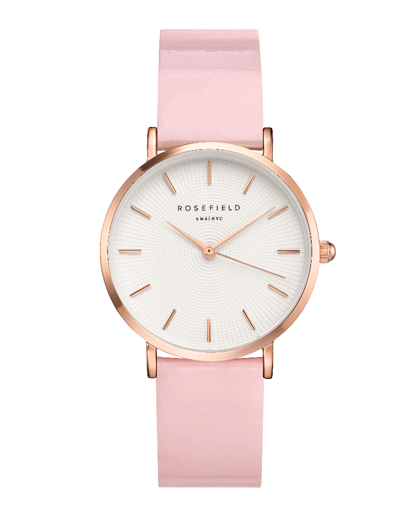 Montre Rosefield THE PREMIUM GLOSS Blanc Rose Or Rose SHPWR-H37