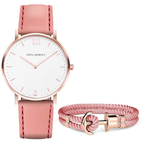 Coffret Paul Hewitt Perfect Match avec montre White Sand IP Or Rosé Aurora et bracelet PHREP IP Or Rosé Aurora