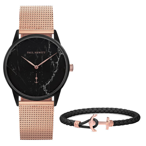 Coffret Paul Hewitt Perfect Match avec montre Signature Line Noir Marble et bracelet PHREP Lite IP Or Rosé Mat Noir