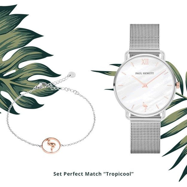 Coffret Paul Hewitt Perfect Match Tropicool avec montre Miss Ocean et bracelet Flamingo - PRECIOVS
