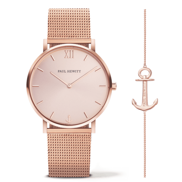 Coffret Paul Hewitt Perfect Match avec montre Sailor Line Rose Sunray et bracelet Anchor Spirit - PRECIOVS