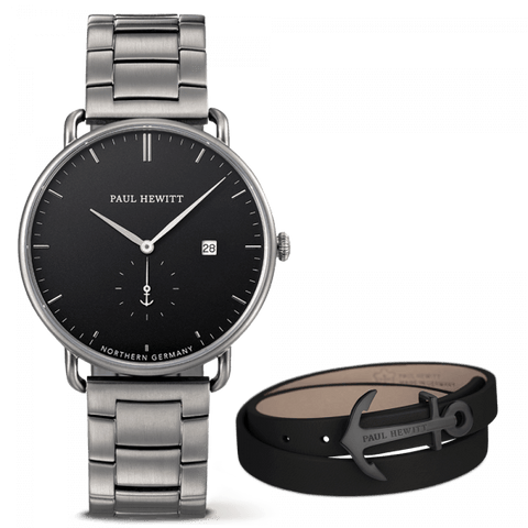 Coffret Paul Hewitt Perfect Match avec montre Grand Atlantic Line Black Sea et bracelet NORTH BOUND - PRECIOVS