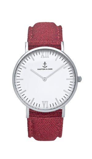Montre Kapten & Son Silver BORDEAUX Canvas