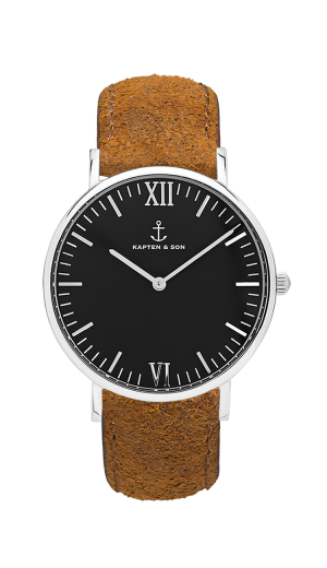Montre Kapten & Son Silver Black Brown Vintage Leather