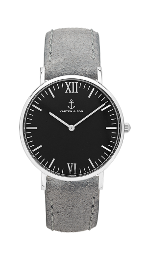 Montre Kapten & Son Silver Black Grey Vintage Leather