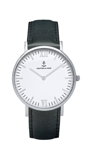 Montre Kapten & Son Silver Black Leather - PRECIOVS