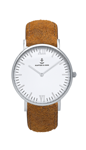 Montre Kapten & Son Silver Brown Vintage Leather