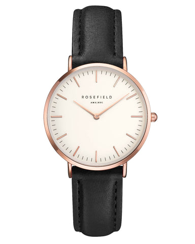 Montre Rosefield The TRIBECA White Black Rose Gold TWBLR - T53