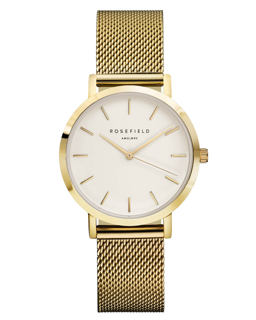 Montre Rosefield The TRIBECA White Mesh Gold TWG-T51