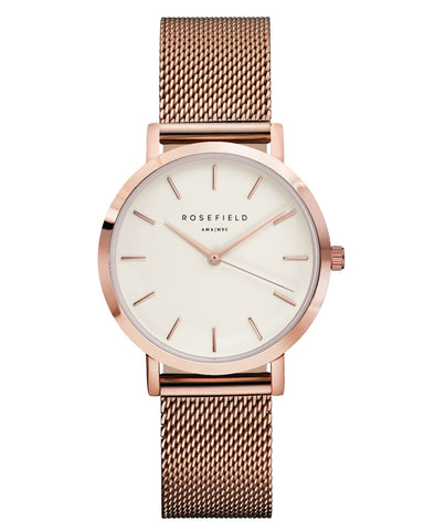 Montre Rosefield The TRIBECA White Mesh Rose Gold TWR-T50