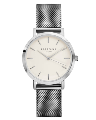 Montre Rosefield The TRIBECA White Mesh Silver TWS-T52