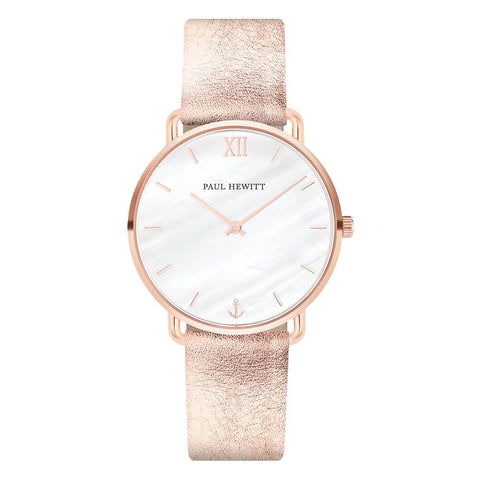 Montre Paul Hewitt Miss Ocean Line Pearl Or Rosé Cuir Liquid Rose