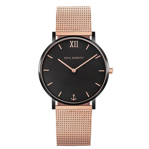 Montre Paul Hewitt Sailor Line Black Sunray IP Noir / Or Rosé Mesh IP Or Rosé