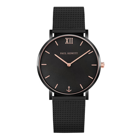 Montre Paul Hewitt Sailor Line Black Sunray IP Noir / Or Rosé Mesh IP Noir - PRECIOVS