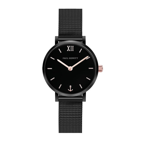 Montre Sailor Line Modest Black Sunray IP Noir / Or Rosé Bande Mesh - PRECIOVS