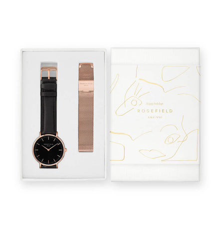 Coffret Rosefield THE BOWERY Noir Noir + bracelet à mailles Or Rose