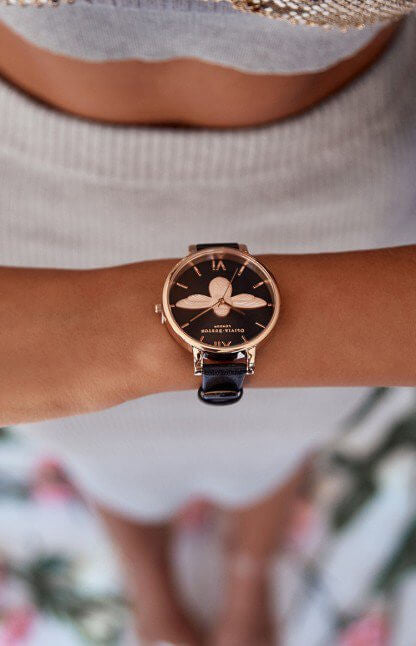 Montre Olivia Burton Big Dial Animal Motif Black Dial Moulded Bee & Rose Gold - PRECIOVS