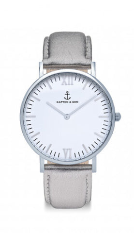 Montre Kapten & Son Silver Metallic Leather