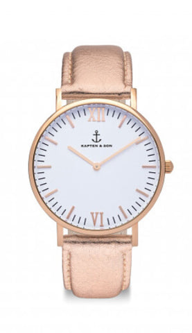 Montre Kapten & Son Rose Metallic Leather