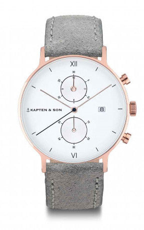 Montre Kapten & Son Chrono Grey Vintage Leather - PRECIOVS