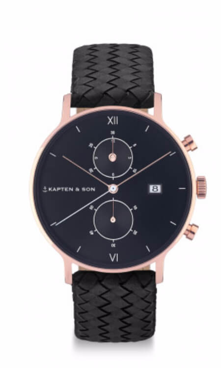 Montre Kapten & Son Chrono All Black Woven - PRECIOVS