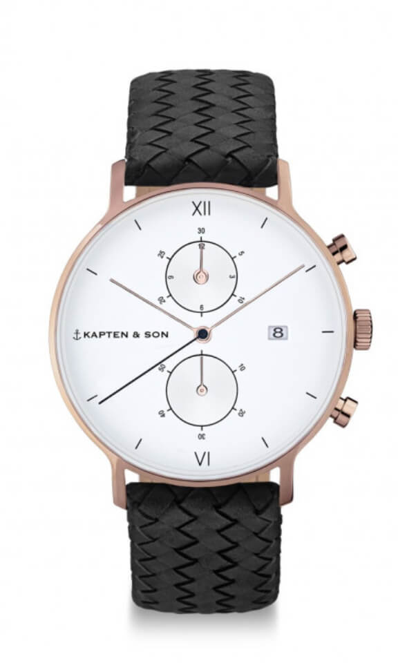 Montre Kapten & Son Chrono Black Woven Leather - PRECIOVS