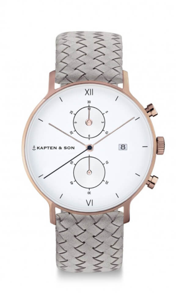 Montre Kapten & Son Chrono Grey Woven Leather - PRECIOVS