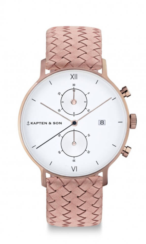 Montre Kapten & Son Chrono Rose Woven Leather - PRECIOVS