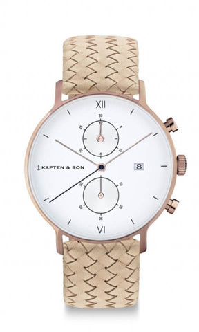 Montre Kapten & Son Chrono Sand Woven Leather