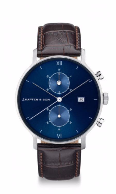 Montre Kapten & Son Chrono Silver Blue Dark Brown Croco Leather - PRECIOVS