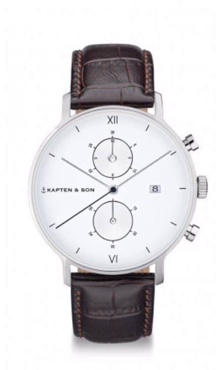 Montre Kapten & Son Chrono Silver Dark Brown Croco Leather - PRECIOVS